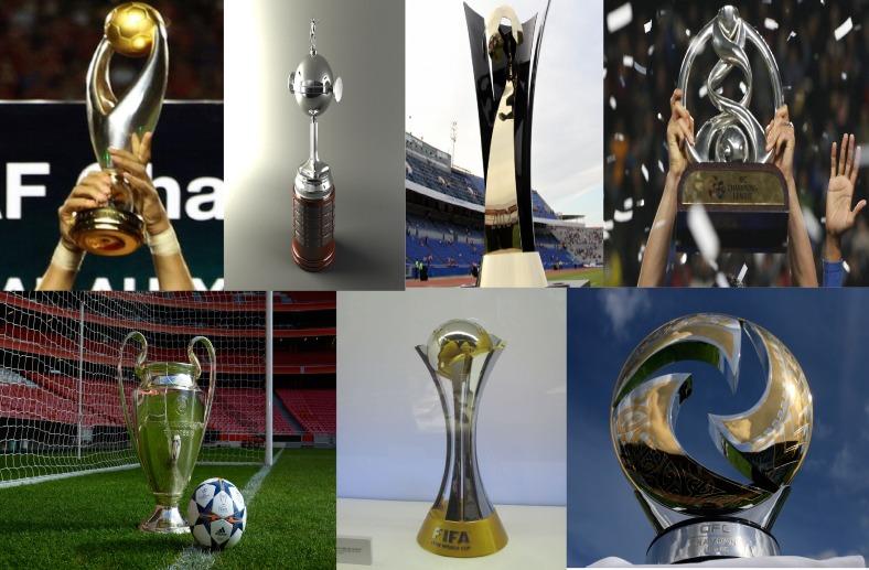 Qui a la plus belle coupe ? En haut à gauche, le trophée africain, sud-américain (Libertadores), nord-americain et asiatique. En bas à gauche, le trophée européen, la coupe du monde des clubs, et le trophée océanien.