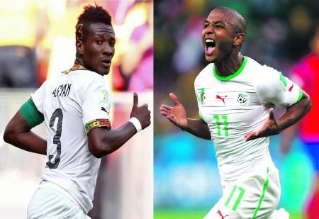 Le Ghana d'Asamoah Gyan (gauche) et l'Algérie de Yacine Brahimi (droite) feront partis des favoris de cette CAN 2015