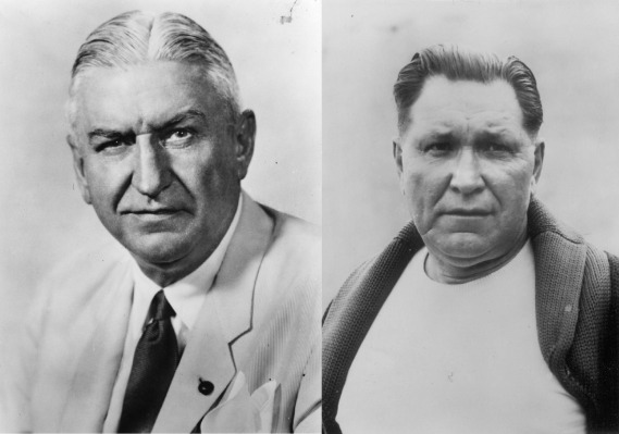 "A gauche: George Preston Marshall, propriétaire des Redskins de 1932 à 1969 A droite: William ""Lone Star"" Dietz, coach des Redskins entre 1933 et 1934, avant leur déménagement à Washington (1937)"
