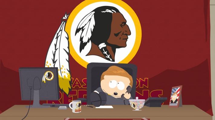 Eric Cartman, personnage de South Park devenu patron d'une start-up appelée Washington Redskins suite à la perte de la marque déposée par l'équipe de NFL